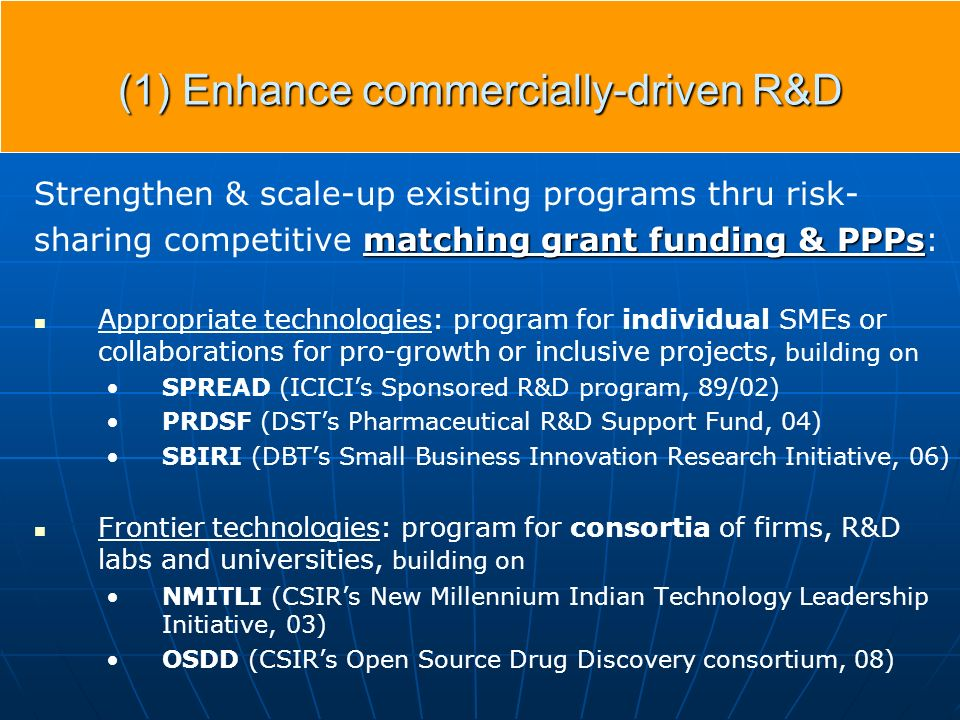 (1) Enhance commercially-driven R&D Strengthen & scale-up existing programs thru risk- matching grant funding & PPPs sharing competitive matching grant funding & PPPs: Appropriate technologies: program for individual SMEs or collaborations for pro-growth or inclusive projects, building on SPREAD (ICICIs Sponsored R&D program, 89/02) PRDSF (DSTs Pharmaceutical R&D Support Fund, 04) SBIRI (DBTs Small Business Innovation Research Initiative, 06) Frontier technologies: program for consortia of firms, R&D labs and universities, building on NMITLI (CSIRs New Millennium Indian Technology Leadership Initiative, 03) OSDD (CSIRs Open Source Drug Discovery consortium, 08)