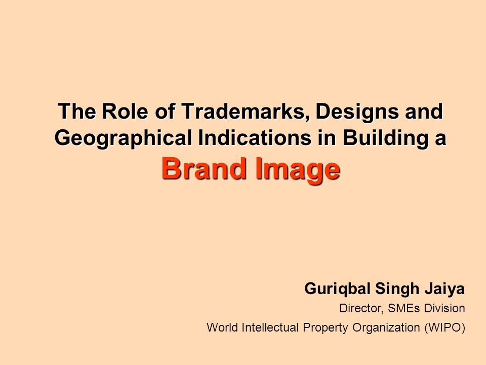 The Role of Trademarks, Designs and Geographical Indications in Building a Brand Image Guriqbal Singh Jaiya Director, SMEs Division World Intellectual