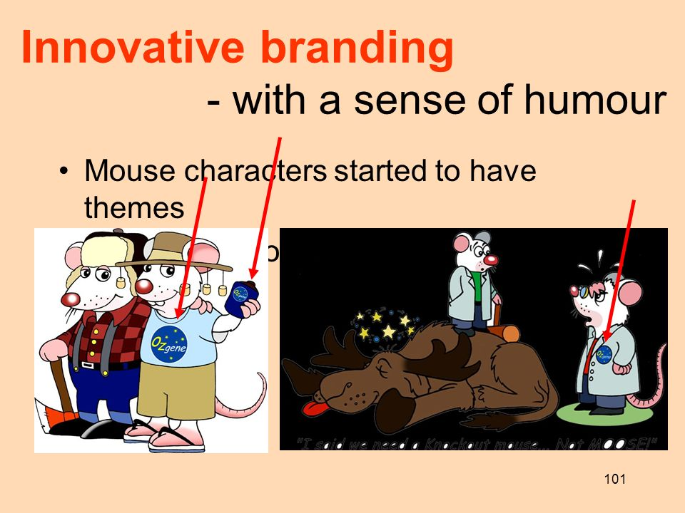 101 Innovative branding - with a sense of humour Mouse characters started to have themes Bio 2002 in Toronto