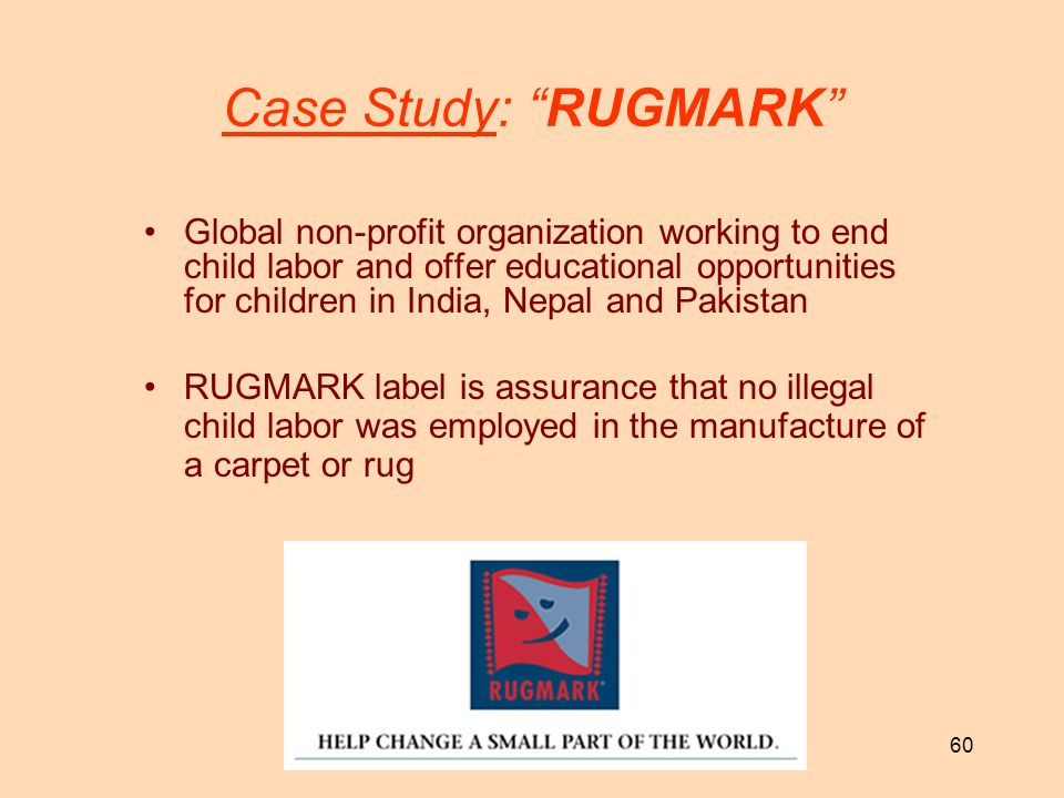 60 Case Study: RUGMARK Global non-profit organization working to end child labor and offer educational opportunities for children in India, Nepal and