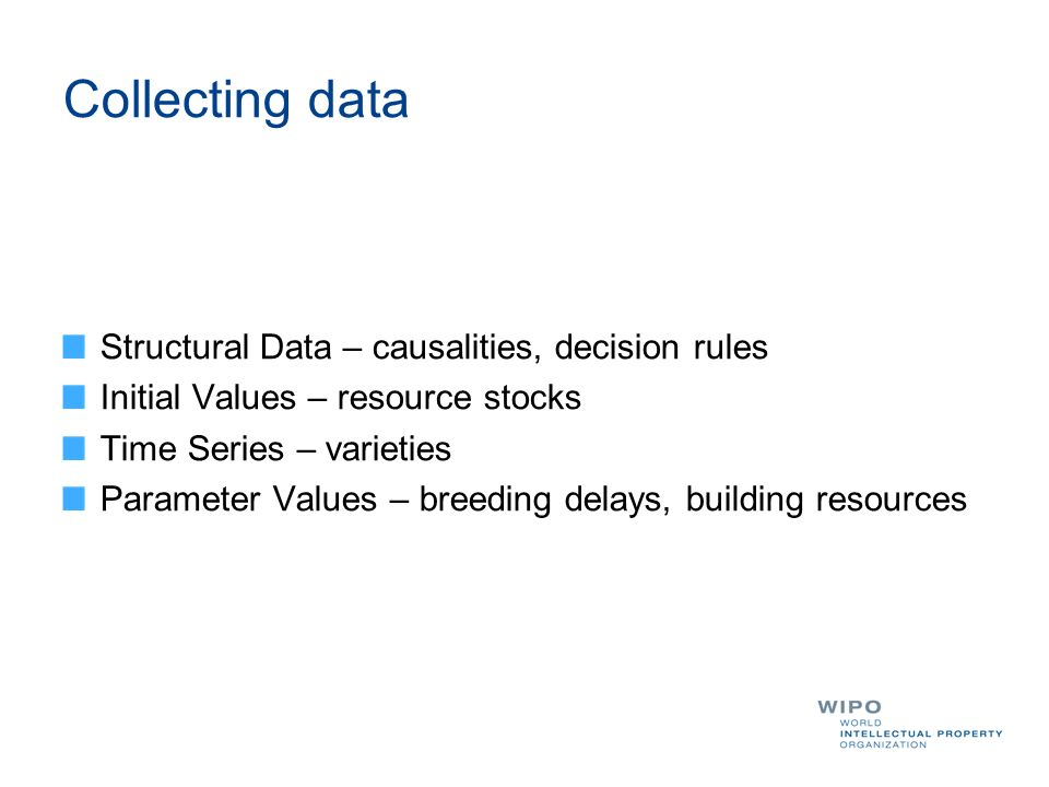 Collecting data Structural Data – causalities, decision rules Initial Values – resource stocks Time Series – varieties Parameter Values – breeding del