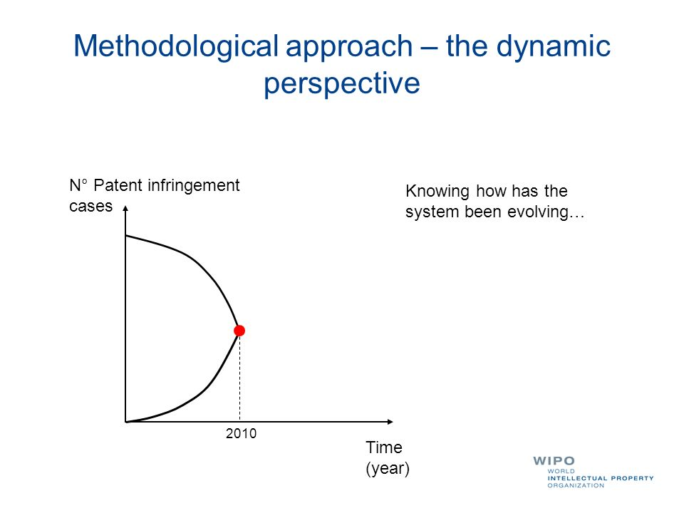 Methodological approach – the dynamic perspective N° Patent infringement cases Time (year) Knowing how has the system been evolving… 2010