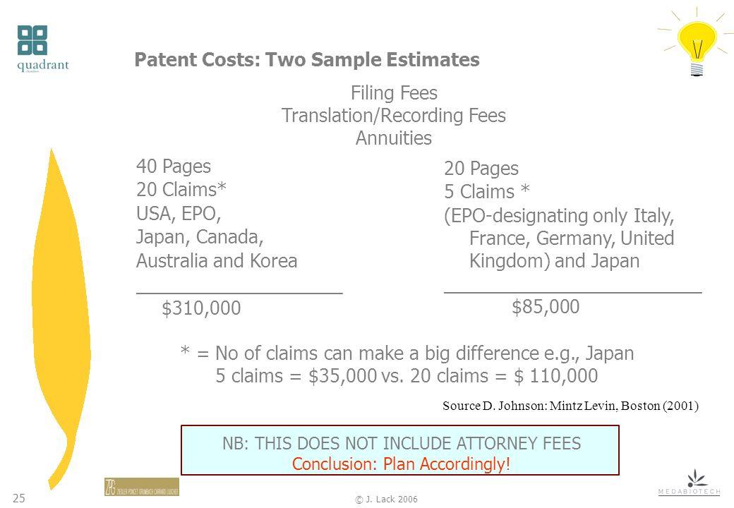 25 © J. Lack 2006 Patent Costs: Two Sample Estimates 40 Pages 20 Claims* USA, EPO, Japan, Canada, Australia and Korea ____________________ $310,000 Fi