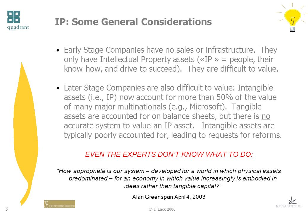 3 © J. Lack 2006 IP: Some General Considerations Early Stage Companies have no sales or infrastructure. They only have Intellectual Property assets («