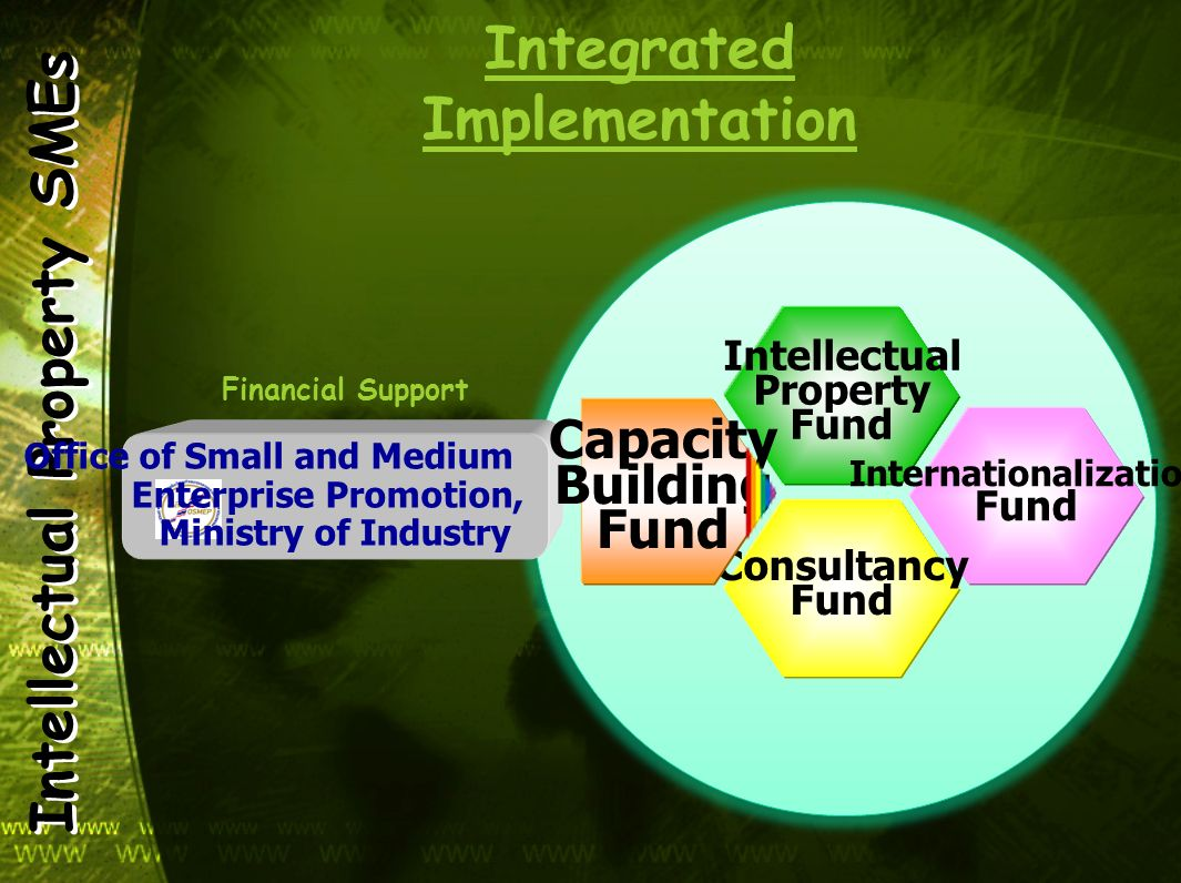 Intellectual Property SMEs Integrated Implementation Office of Small and Medium Enterprise Promotion, Ministry of Industry Financial Support Intellect