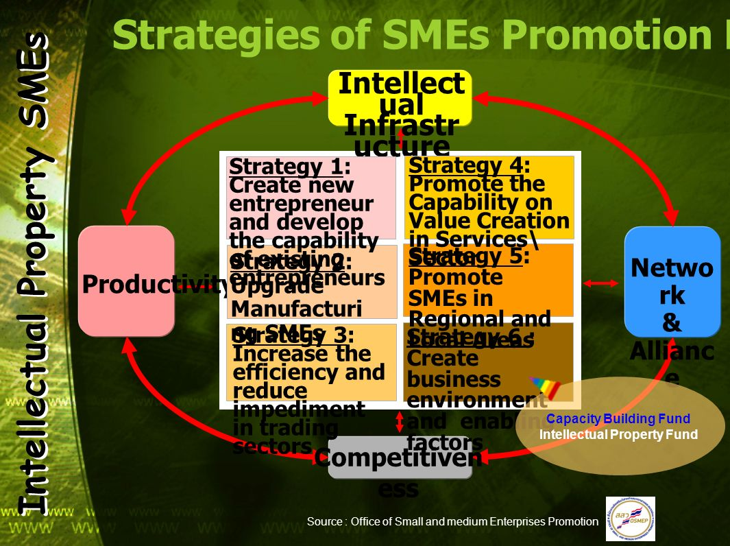 Strategies of SMEs Promotion Plan No.2 (2007-2011) Intellect ual Infrastr ucture Netwo rk & Allianc e Productivity Competitiven ess Strategy 1: Create