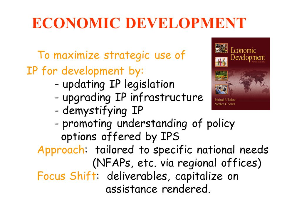 ECONOMIC DEVELOPMENT To maximize strategic use of IP for development by: - updating IP legislation - upgrading IP infrastructure - demystifying IP - p