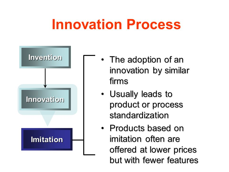Innovation Process The adoption of an innovation by similar firmsThe adoption of an innovation by similar firms Usually leads to product or process st