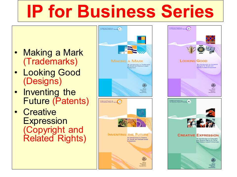 IP for Business Series Making a Mark (Trademarks) Looking Good (Designs) Inventing the Future (Patents) Creative Expression (Copyright and Related Rig