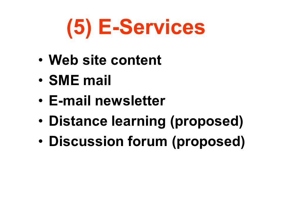 (5) E-Services Web site content SME mail E-mail newsletter Distance learning (proposed) Discussion forum (proposed)