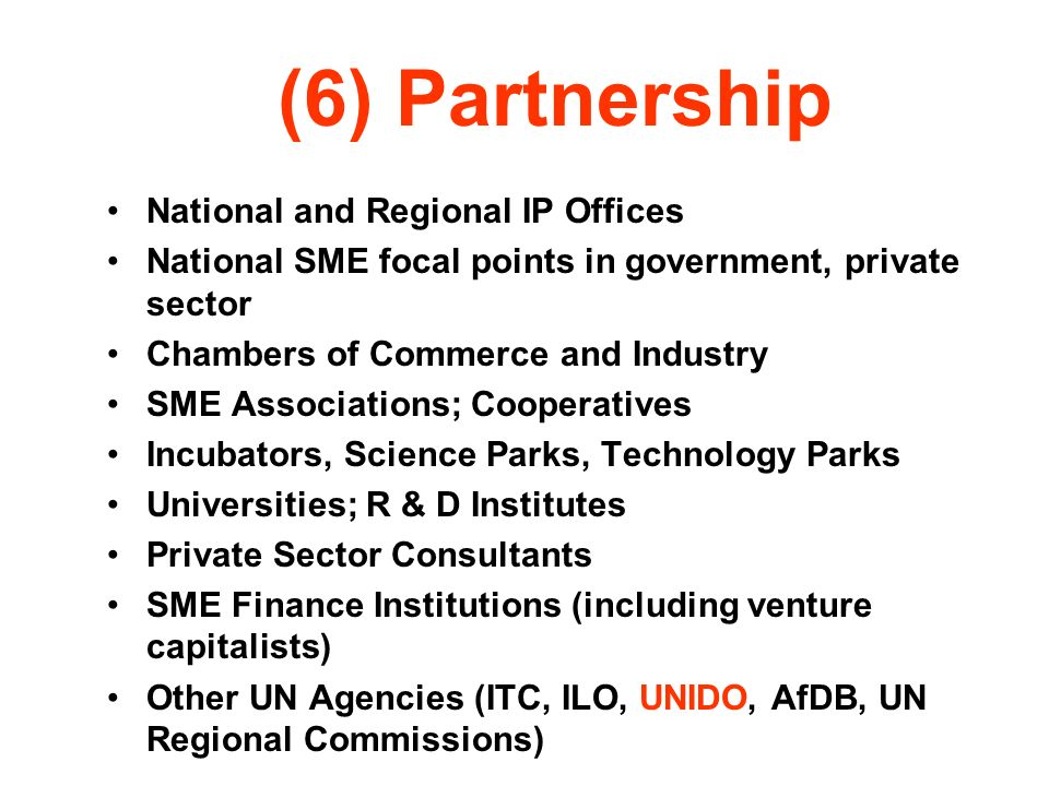 (6) Partnership National and Regional IP Offices National SME focal points in government, private sector Chambers of Commerce and Industry SME Associa