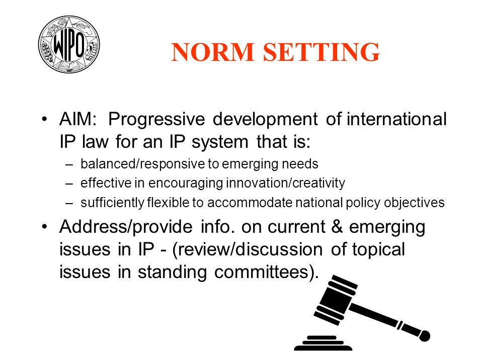 AIM: Progressive development of international IP law for an IP system that is: –balanced/responsive to emerging needs –effective in encouraging innova