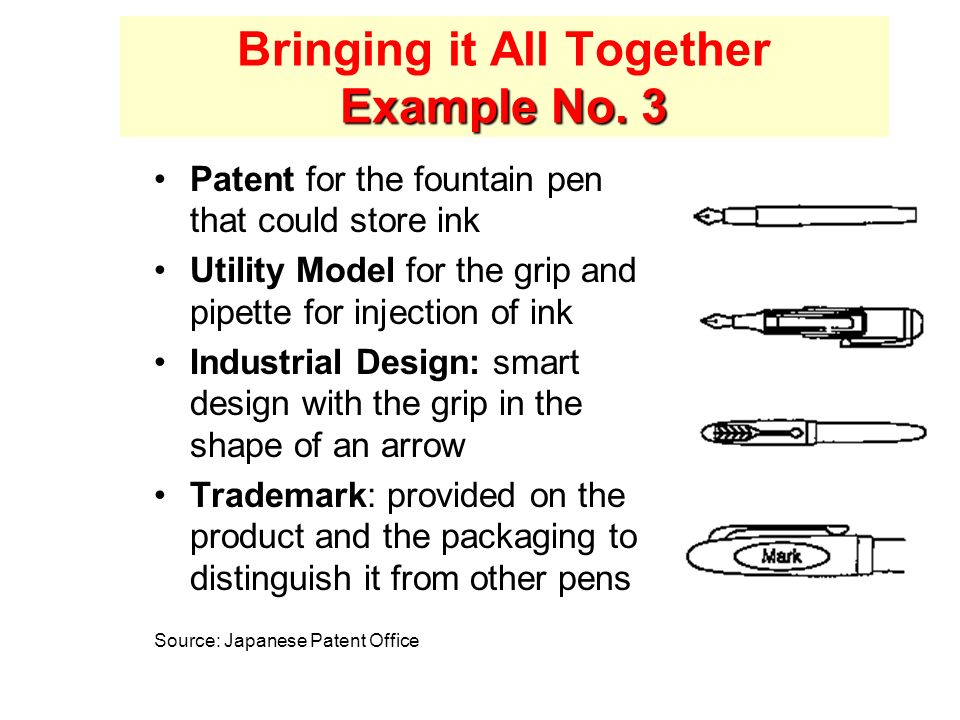Example No. 3 Bringing it All Together Example No. 3 Patent for the fountain pen that could store ink Utility Model for the grip and pipette for injec