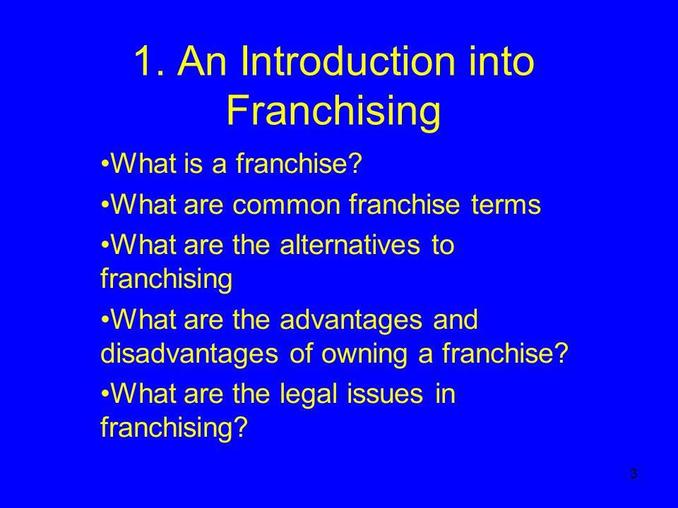 3 1. An Introduction into Franchising What is a franchise.