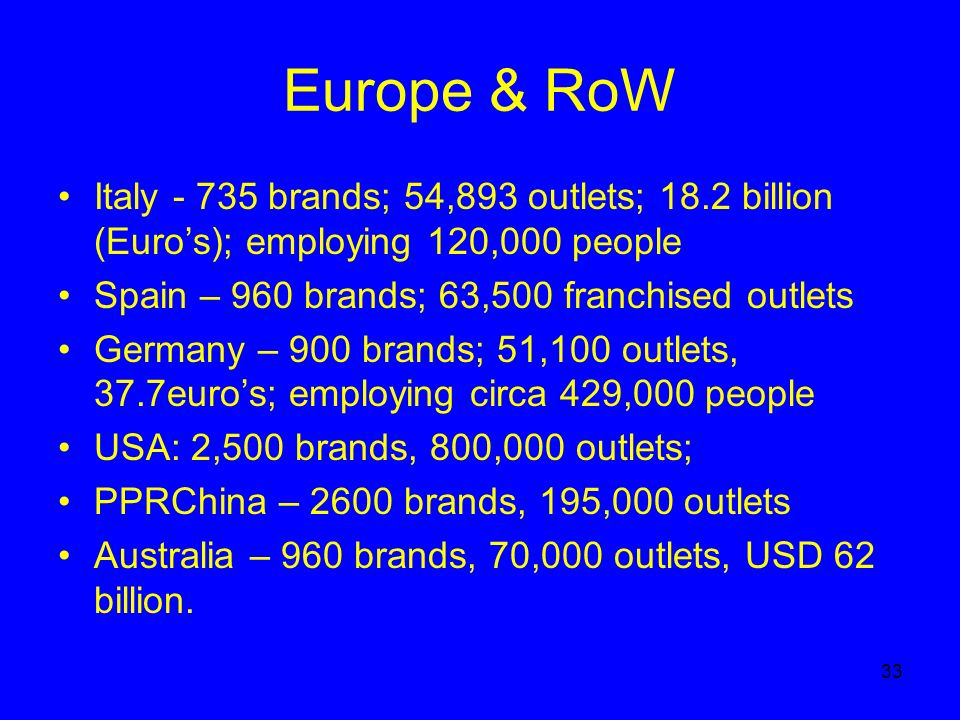 33 Europe & RoW Italy - 735 brands; 54,893 outlets; 18.2 billion (Euros); employing 120,000 people Spain – 960 brands; 63,500 franchised outlets Germany – 900 brands; 51,100 outlets, 37.7euros; employing circa 429,000 people USA: 2,500 brands, 800,000 outlets; PPRChina – 2600 brands, 195,000 outlets Australia – 960 brands, 70,000 outlets, USD 62 billion.