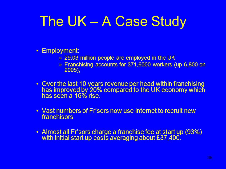 35 The UK – A Case Study Employment: »29.03 million people are employed in the UK »Franchising accounts for 371,6000 workers (up 6,800 on 2005); Over the last 10 years revenue per head within franchising has improved by 20% compared to the UK economy which has seen a 16% rise.