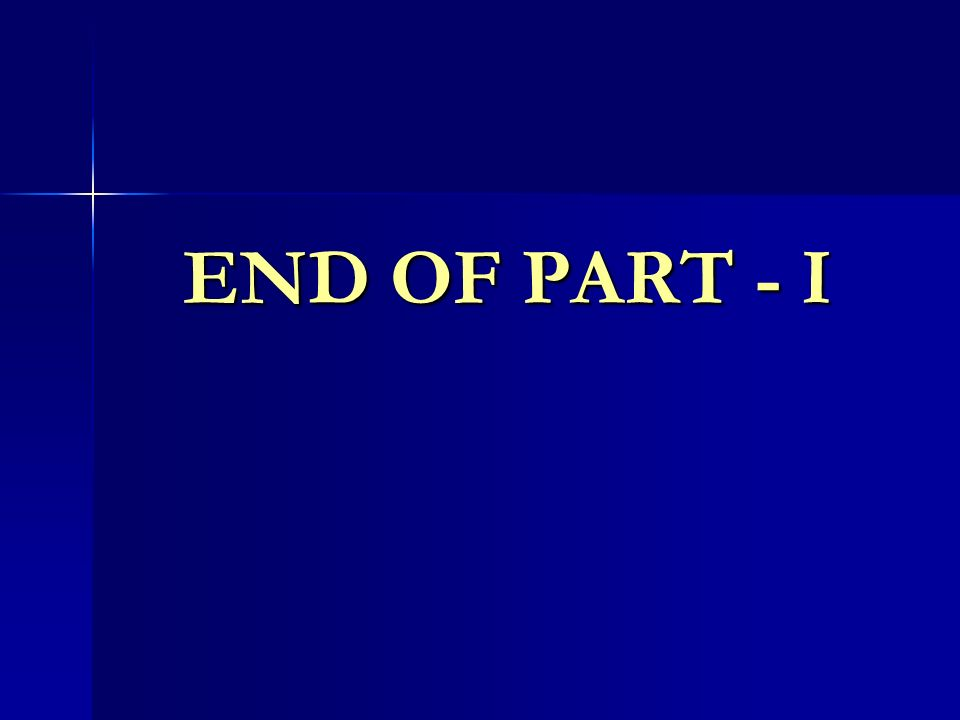 END OF PART - I