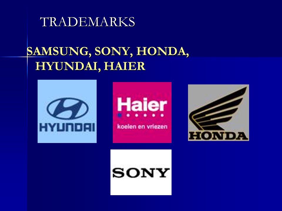 TRADEMARKS SAMSUNG, SONY, HONDA, HYUNDAI, HAIER