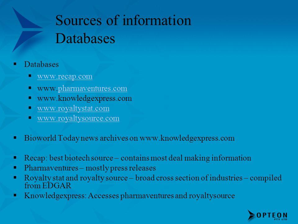 Sources of information Databases Databases www.recap.com www.pharmaventures.compharmaventures.com www.knowledgexpress.com www.royaltystat.com www.roya