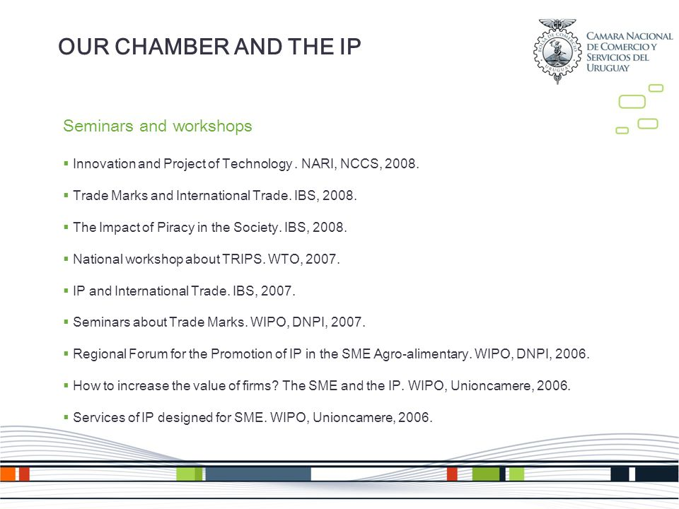 Seminars and workshops Innovation and Project of Technology.