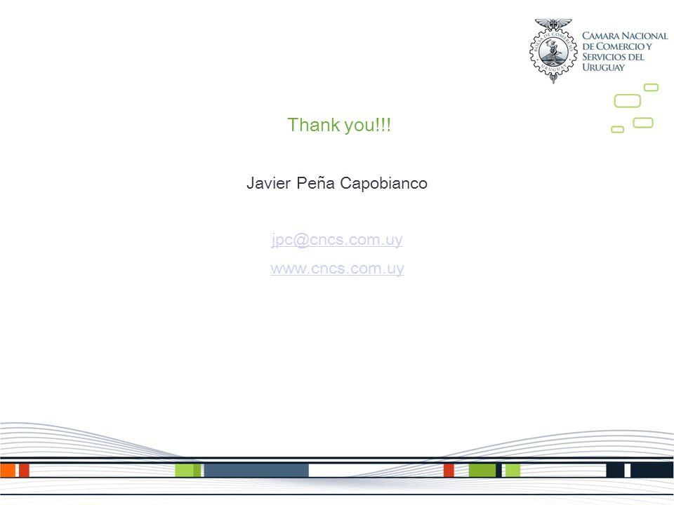 Thank you!!! Javier Peña Capobianco jpc@cncs.com.uy www.cncs.com.uy
