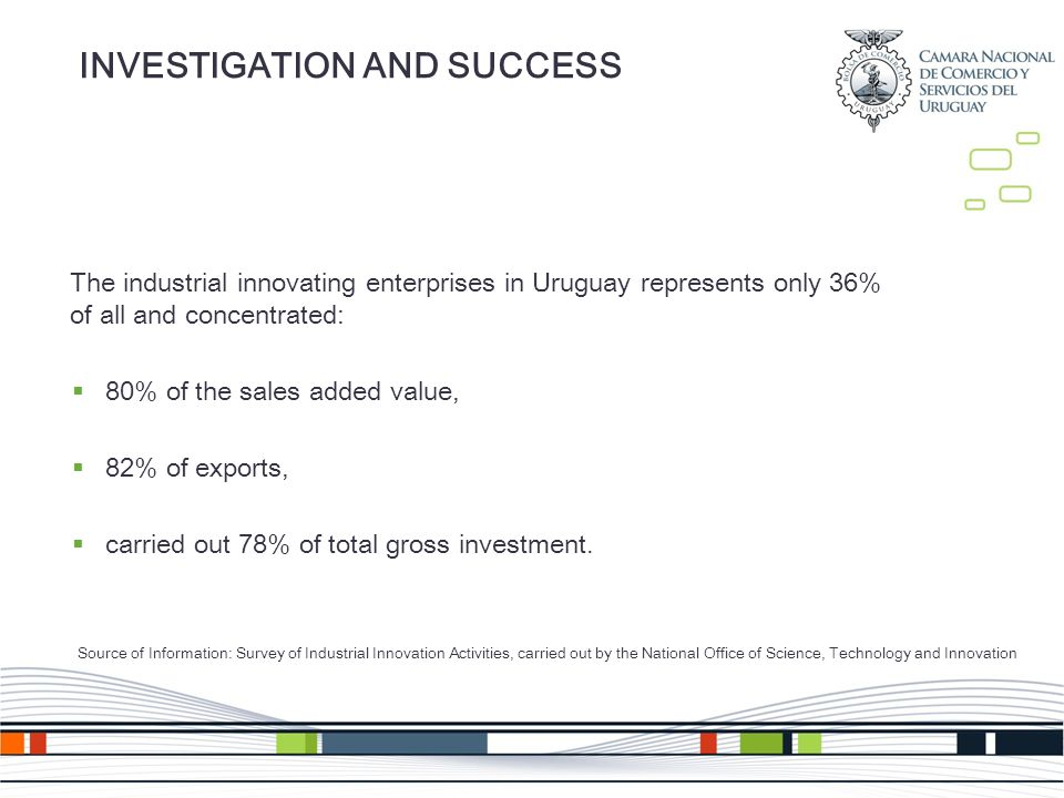 INVESTIGATION AND SUCCESS The industrial innovating enterprises in Uruguay represents only 36% of all and concentrated: 80% of the sales added value, 82% of exports, carried out 78% of total gross investment.