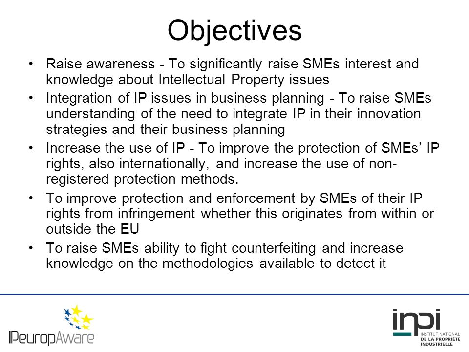 Results - Networks Stronger and sustainable relations between each NPO and local intermediaries at national level Example: IPR Awareness and Enforcement Seminars for SMEs Stronger network between the NPOs through agreed standards for IP Helpdesks for SMEs