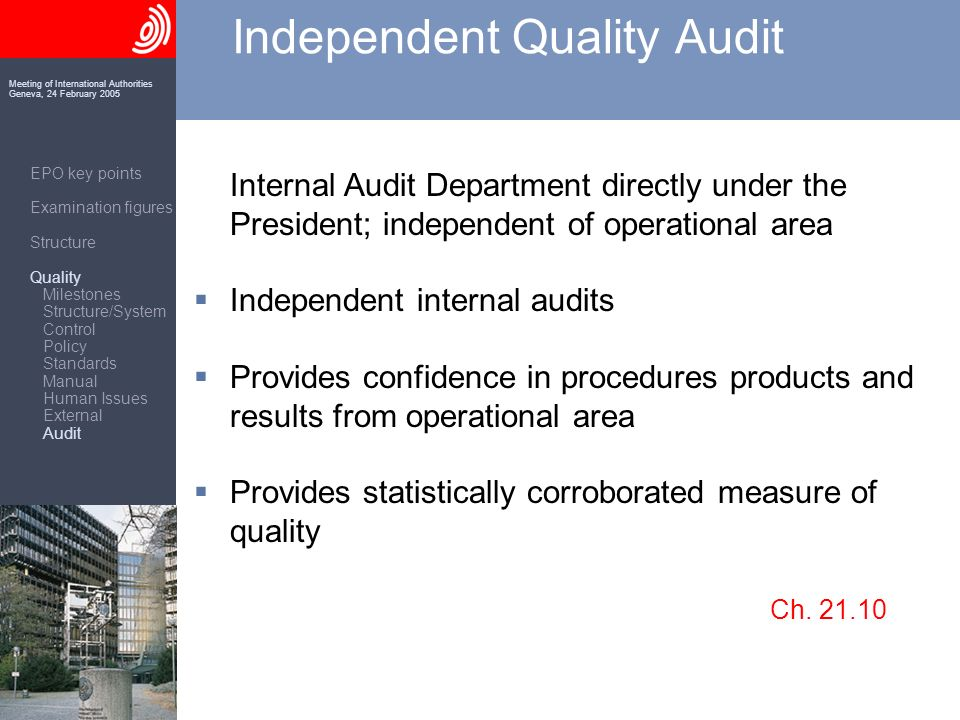 Meeting of International Authorities Geneva, 24 February 2005 Independent Quality Audit Internal Audit Department directly under the President; independent of operational area Independent internal audits Provides confidence in procedures products and results from operational area Provides statistically corroborated measure of quality Ch.