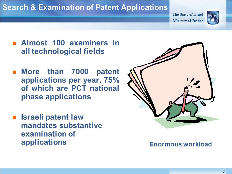Almost 100 examiners in all technological fields More than 7000 patent applications per year, 75% of which are PCT national phase applications Israeli