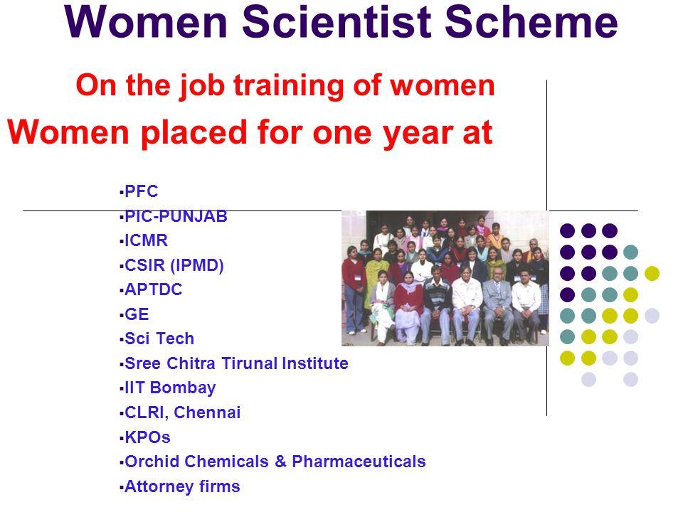 On the job training of women Women placed for one year at PFC PIC-PUNJAB ICMR CSIR (IPMD) APTDC GE Sci Tech Sree Chitra Tirunal Institute IIT Bombay C