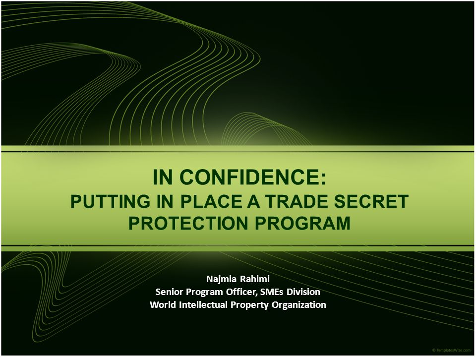 IN CONFIDENCE: PUTTING IN PLACE A TRADE SECRET PROTECTION PROGRAM Najmia Rahimi Senior Program Officer, SMEs Division World Intellectual Property Organization