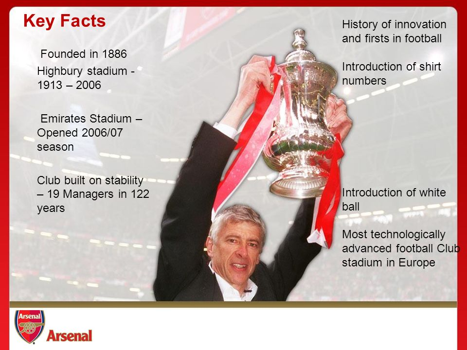 ®®® History of innovation and firsts in football Introduction of shirt numbers Introduction of white ball Most technologically advanced football Club stadium in Europe Founded in 1886 Highbury stadium – 2006 Emirates Stadium – Opened 2006/07 season Club built on stability – 19 Managers in 122 years Key Facts
