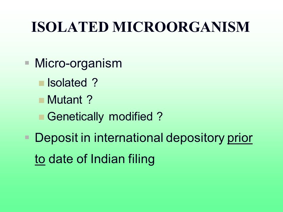 ISOLATED MICROORGANISM Micro-organism Isolated ? Mutant ? Genetically modified ? Deposit in international depository prior to date of Indian filing