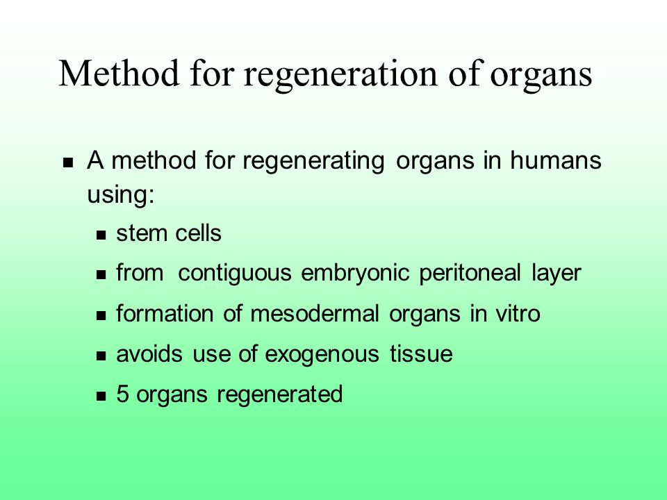 Method for regeneration of organs A method for regenerating organs in humans using: stem cells from contiguous embryonic peritoneal layer formation of