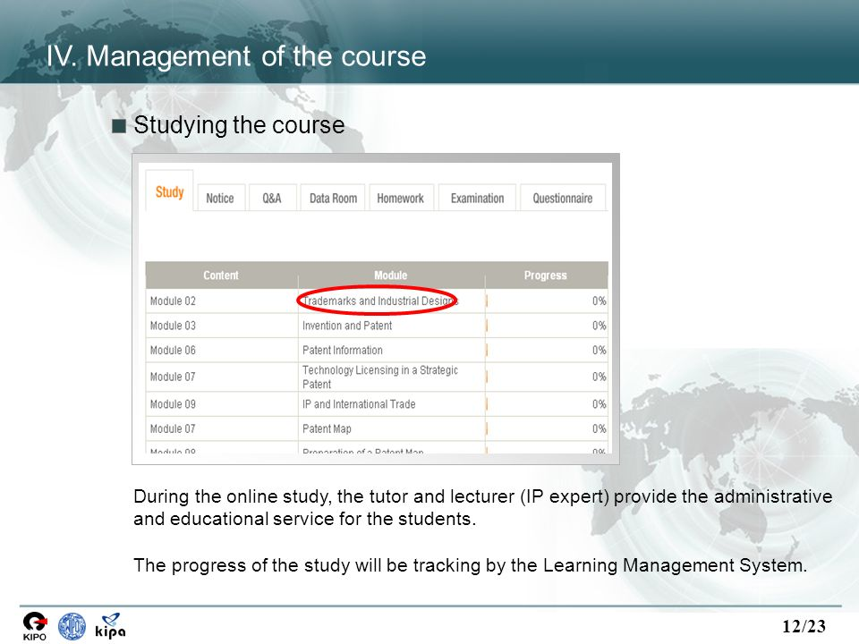 12/23 Studying the course During the online study, the tutor and lecturer (IP expert) provide the administrative and educational service for the students.