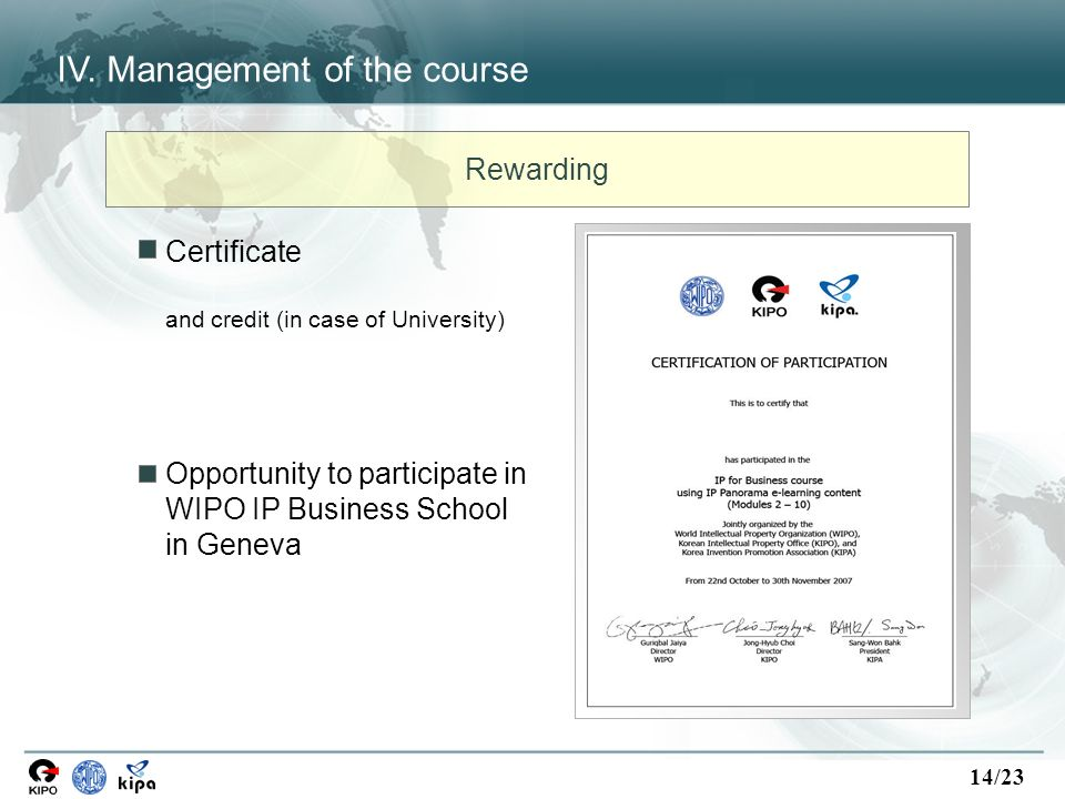14/23 Certificate and credit (in case of University) Opportunity to participate in WIPO IP Business School in Geneva Rewarding IV. Management of the c