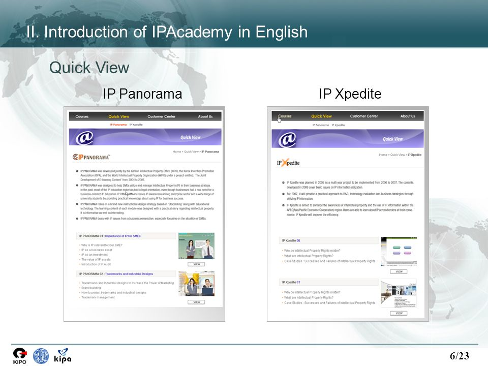6/23 IP PanoramaIP Xpedite Quick View II. Introduction of IPAcademy in English