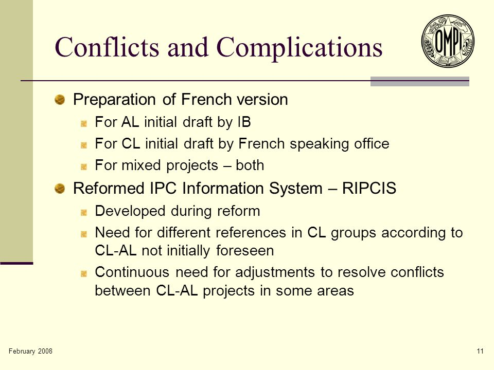 February 2008 11 Conflicts and Complications Preparation of French version For AL initial draft by IB For CL initial draft by French speaking office F