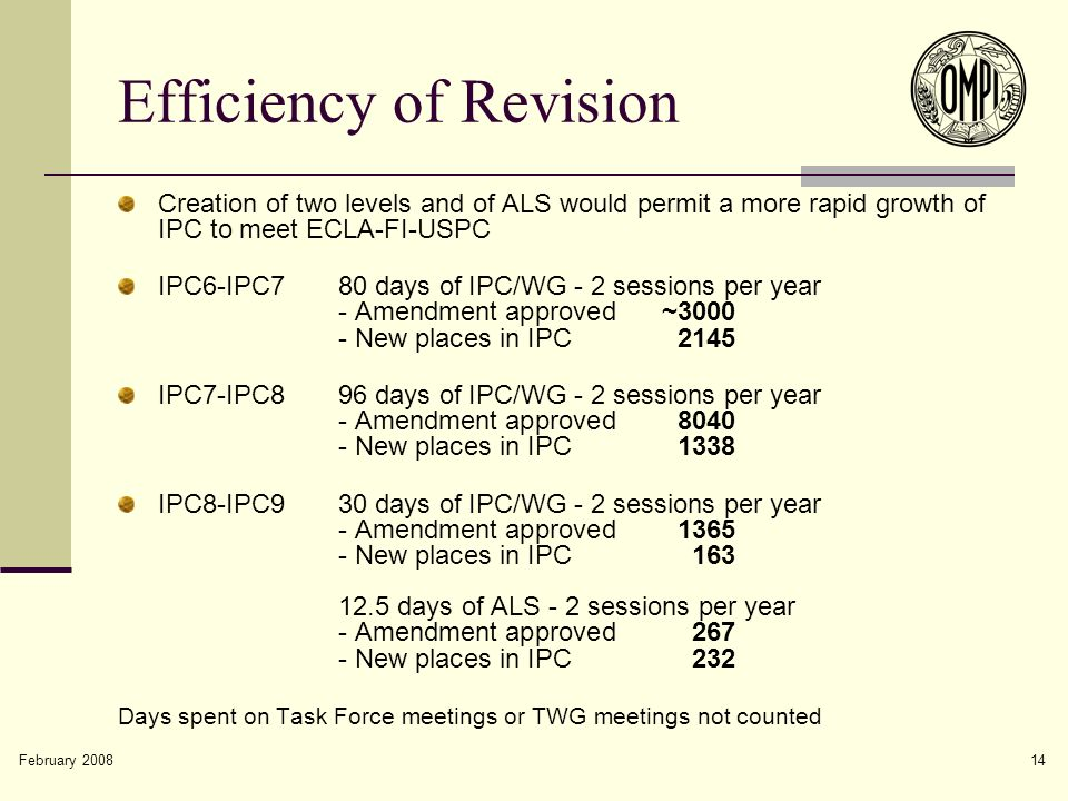 February 2008 14 Efficiency of Revision Creation of two levels and of ALS would permit a more rapid growth of IPC to meet ECLA-FI-USPC IPC6-IPC780 day