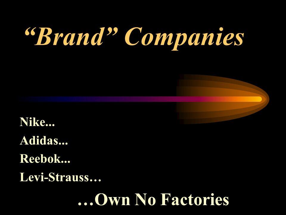 Brand Companies Nike... Adidas... Reebok... Levi-Strauss… …Own No Factories