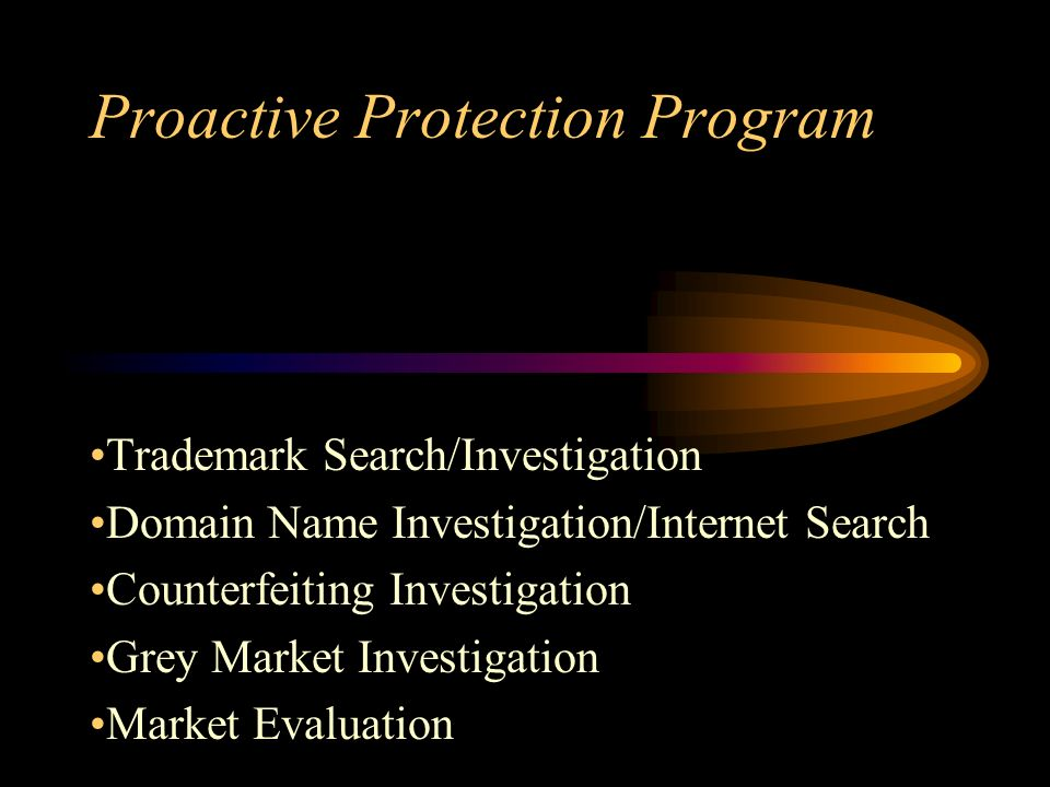 Proactive Protection Program Trademark Search/Investigation Domain Name Investigation/Internet Search Counterfeiting Investigation Grey Market Investigation Market Evaluation