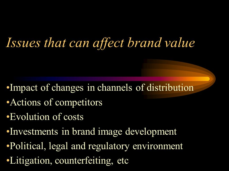 Issues that can affect brand value Impact of changes in channels of distribution Actions of competitors Evolution of costs Investments in brand image development Political, legal and regulatory environment Litigation, counterfeiting, etc