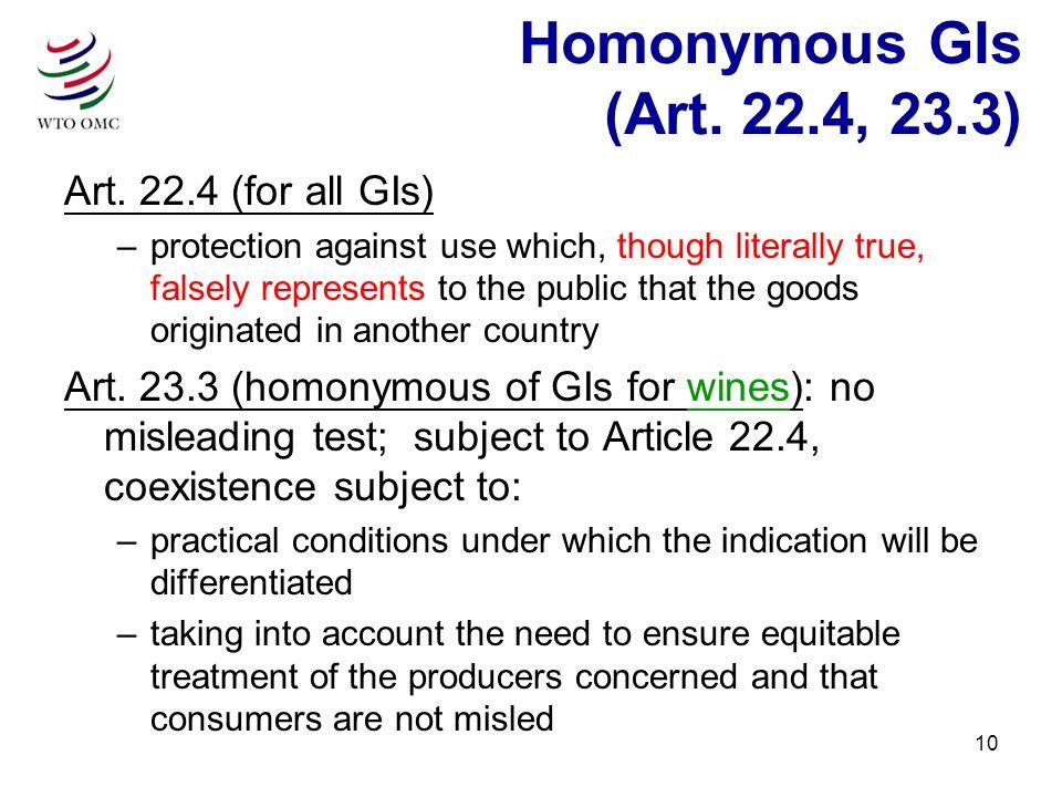 10 Homonymous GIs (Art. 22.4, 23.3) Art.