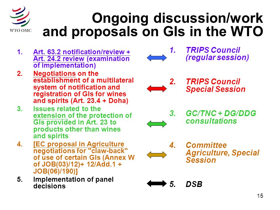 15 Ongoing discussion/work and proposals on GIs in the WTO 1.Art.