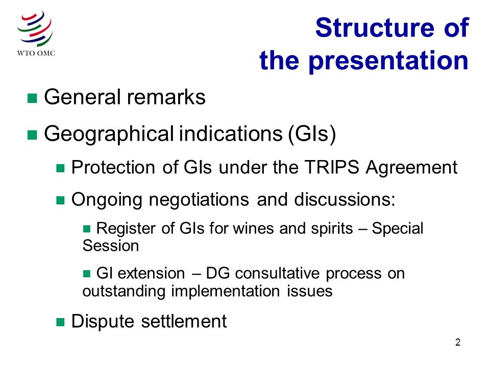 2 n General remarks n Geographical indications (GIs) n Protection of GIs under the TRIPS Agreement n Ongoing negotiations and discussions: n Register of GIs for wines and spirits – Special Session n GI extension – DG consultative process on outstanding implementation issues n Dispute settlement Structure of the presentation