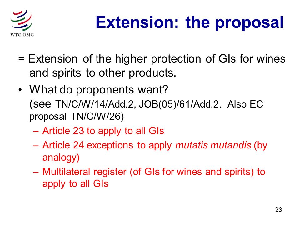 23 Extension: the proposal = Extension of the higher protection of GIs for wines and spirits to other products.