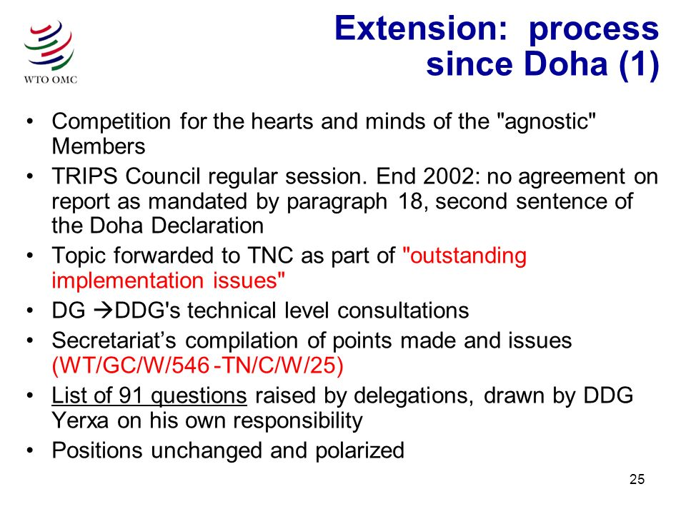 25 Extension: process since Doha (1) Competition for the hearts and minds of the agnostic Members TRIPS Council regular session.