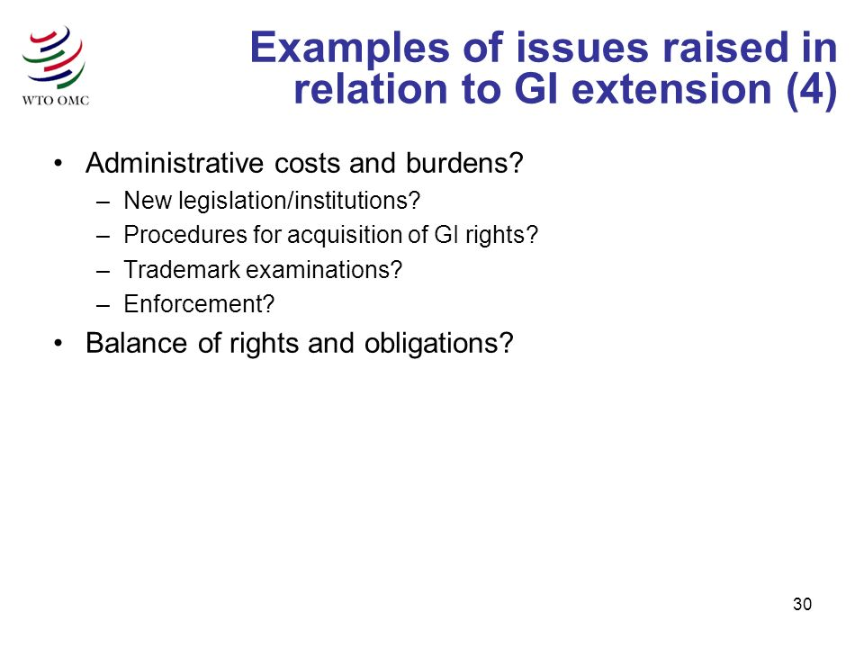 30 Examples of issues raised in relation to GI extension (4) Administrative costs and burdens? –New legislation/institutions? –Procedures for acquisit