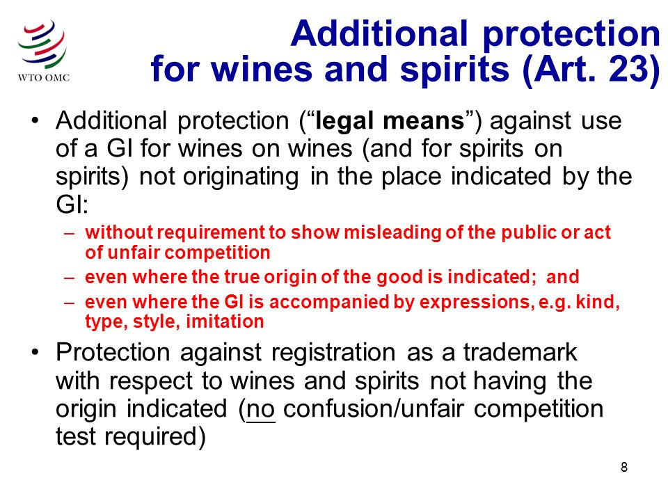 8 Additional protection for wines and spirits (Art.