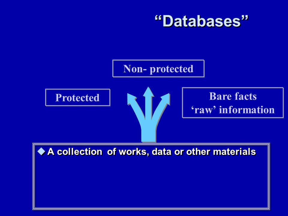 Databases A collection of works, data or other materials Protected Non- protected Bare facts raw information
